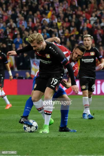 Julian Brandt of Bayer Leverkusen in action during the UEFA Champions League Round of 16 second leg match between Club Atletico de Madrid and Bayer...