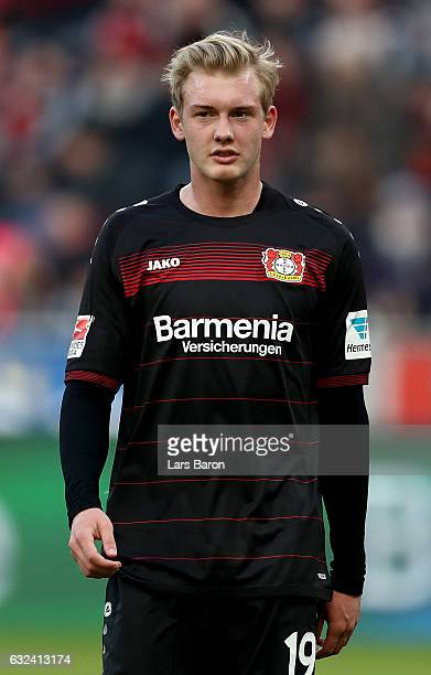 Julian Brandt of Bayer Leverkusen is seen during the Bundesliga match between Bayer 04 Leverkusen and Hertha BSC at BayArena on January 22 2017 in...