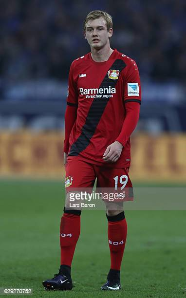 Julian Brandt of Bayer Leverkusen looks on during the Bundesliga match between FC Schalke 04 and Bayer 04 Leverkusen at VeltinsArena on December 11...