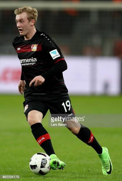 Julian Brandt of Bayer Leverkusen runs with the ball during the Bundesliga match between Bayer 04 Leverkusen and Werder Bremen at BayArena on March...