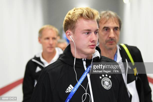 Julian Brandt of Germany arrives at the stadium prior to the FIFA Confederations Cup Russia 2017 Group B match between Germany and Chile at Kazan...
