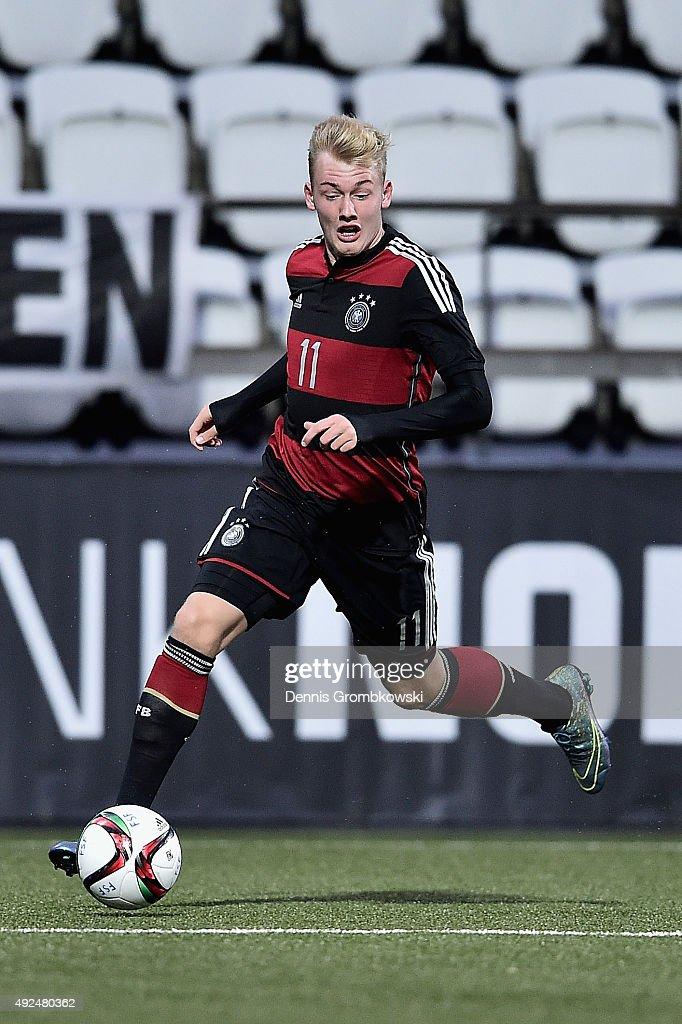 Julian Brandt of Germany controls the ball during the 2017 UEFA European U21 Championships Qualifier between U21 Faroe Islands and U21 Germany at...