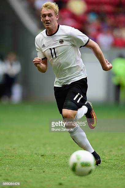Julian Brandt of Germany dribbles against Portugal in the first half during the Men's Football Quarterfinal match on Day 8 of the Rio 2016 Olympic...