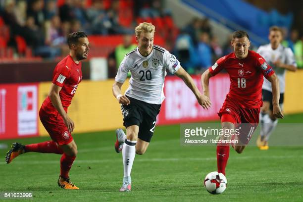 Julian Brandt of Germany eludes Filip Novak and Jan Boril of Czech Republik during the FIFA World Cup Russia 2018 Group C Qualifier between Czech...