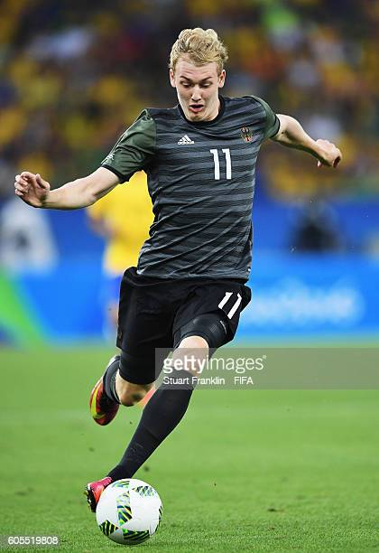Julian Brandt of Germany in action during the Olympic Men's Final Football match between Brazil and Germany at Maracana Stadium on August 20 2016 in...
