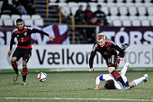 Julian Brandt of Germany is challenged by Gestur Dam of Faroe Islands during the 2017 UEFA European U21 Championships Qualifier between U21 Faroe...