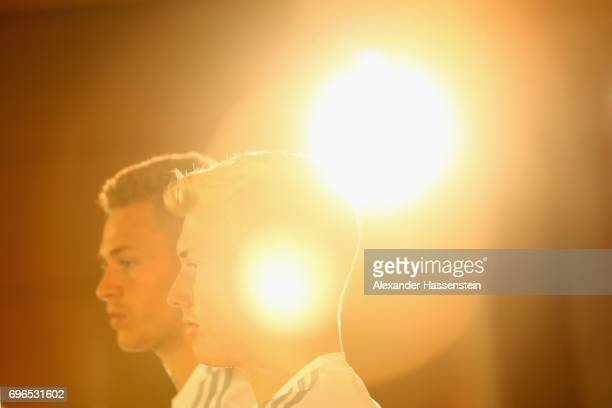 Julian Brandt of Germany looks on with his team mate Joshua Kimmich during a Press Conference of the German national team at Radisson Blu Paradise...
