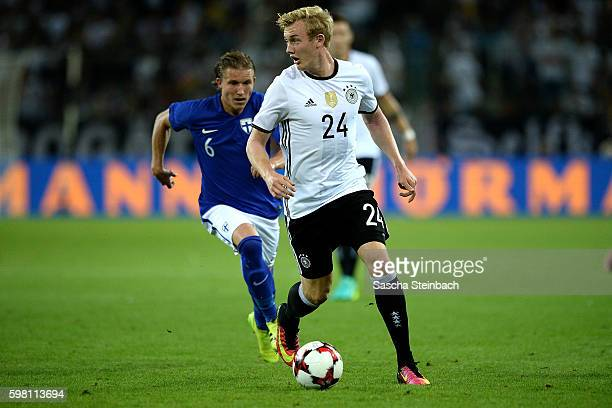 Julian Brandt of Germany runs with the ball during the international friendly match between Germany and Finland at BorussiaPark on August 31 2016 in...