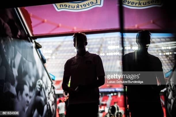 Julian Brandt of Leverkusen arrives prior to the Bundesliga match between Bayer 04 Leverkusen and VfL Wolfsburg at BayArena on October 15 2017 in...