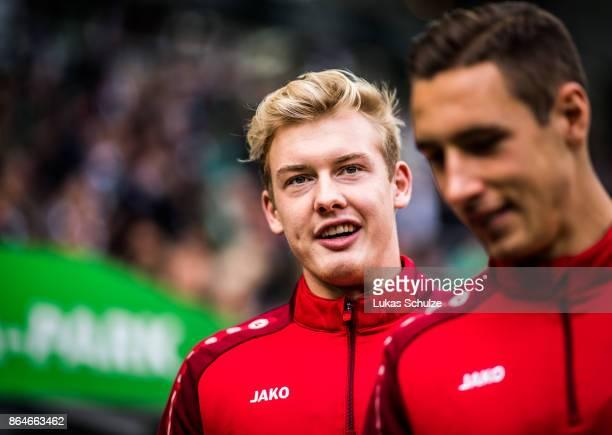 Julian Brandt of Leverkusen arrives prior to the Bundesliga match between Borussia Moenchengladbach and Bayer 04 Leverkusen at BorussiaPark on...