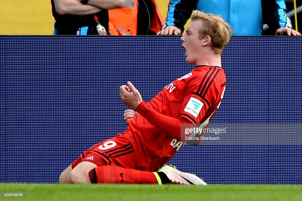 Julian Brandt of Leverkusen celebrates after scoring the opening goal during the Bundesliga match between 1. FC Koeln and Bayer Leverkusen at RheinEnergieStadion on April 10, 2016 in Cologne, Germany.