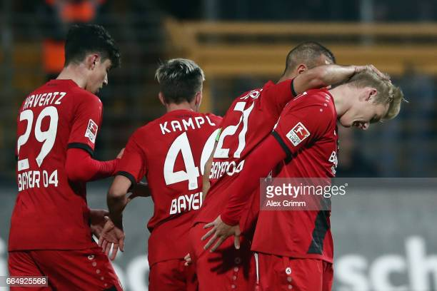 Julian Brandt of Leverkusen celebrates his team's first goal during the Bundesliga match between SV Darmstadt 98 and Bayer 04 Leverkusen at Jonathan...