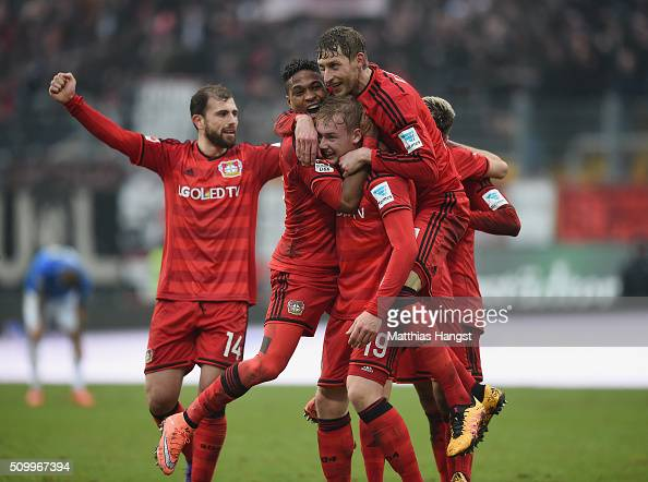 Julian Brandt of Leverkusen celebrates with his teammates after scoring his team's second goal during the match between SV Darmstadt 98 and Bayer...
