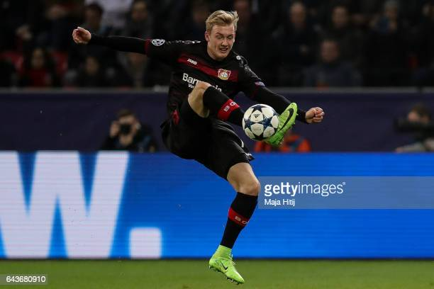 Julian Brandt of Leverkusen controls the ball during the UEFA Champions League Round of 16 first leg match between Bayer Leverkusen and Club Atletico...