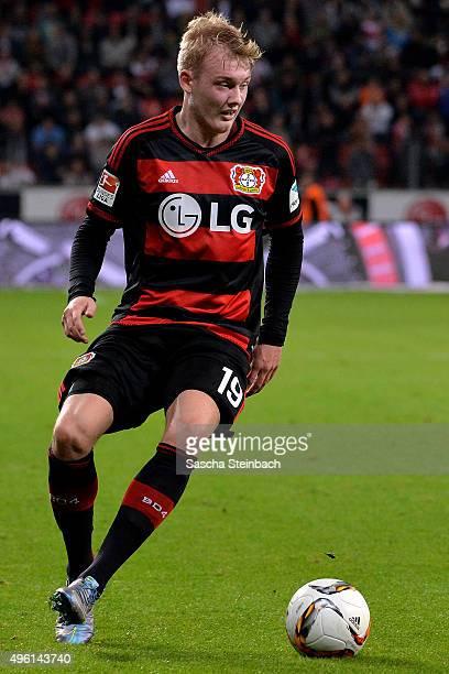 Julian Brandt of Leverkusen runs with the ball during the Bundesliga match between Bayer Leverkusen and 1 FC Koeln at BayArena on November 7 2015 in...