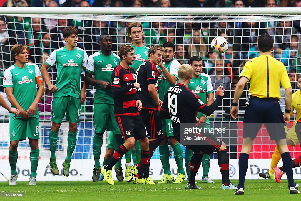 Julian Brandt of Leverkusen scores his team's second goal with a freekick during the Bundesliga match between Werder Bremen and Bayer Leverkusen at...