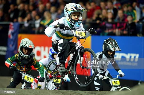 Julian Carruthurs of Australia competes in the 7 yr old boys during day two of the UCI BMX World Championships at Vector Arena on July 25 2013 in...