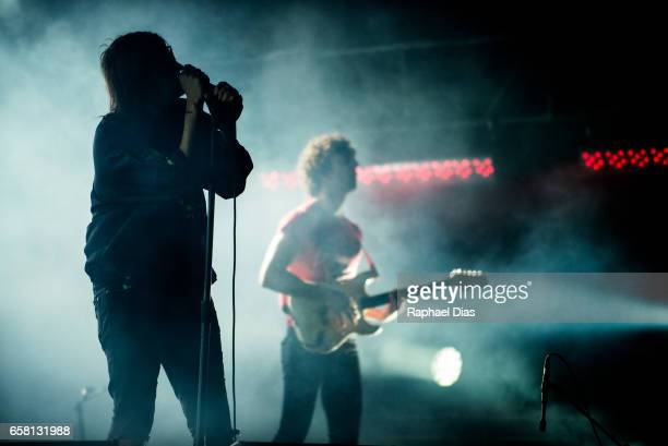 Julian Casablancas and Albert Hammond Jr from The Strokes perform at Lollapalooza Brazil day 2 at Autodromo de Interlagos on March 26 2017 in Sao...