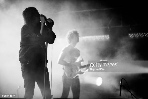Julian Casablancas and Albert Hammond Jr from The Strokes performs at Lollapalooza Brazil day 2 at Autodromo de Interlagos on March 25 2017 in Sao...