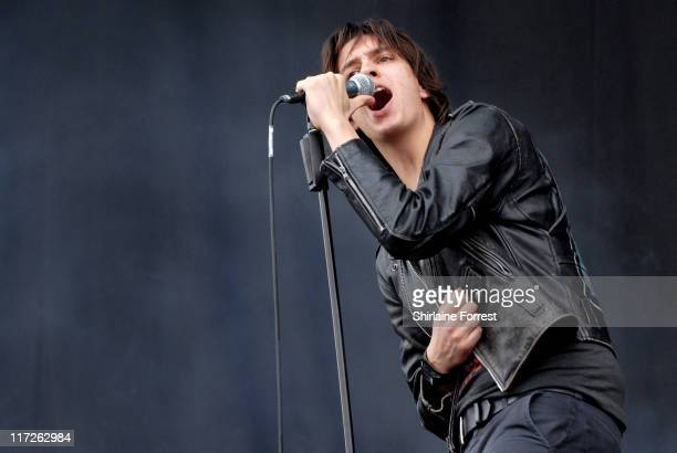 Julian Casblancas of The Strokes during The Strokes Concert in Manchester June 18 2006 at Lancashire County Cricket Ground in Manchester Great Britain