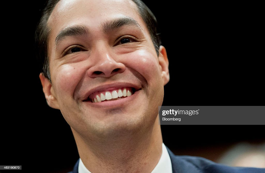 Julian Castro, secretary of U.S. Housing and Urban Development (HUD), smiles during a House Financial Services Committee hearing in Washington, D.C., U.S., on Wednesday, Feb. 11, 2015. The hearing was entitled 'The Future of Housing in America; Oversight of the Federal Housing Administration.' Photographer: Andrew Harrer/Bloomberg via Getty Images