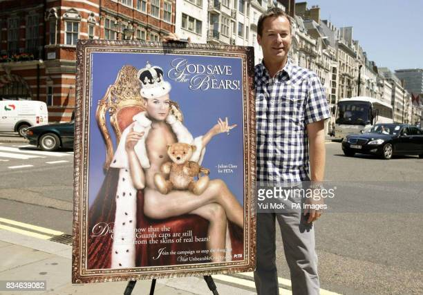 Julian Clary unveils a PETA campaign calling for an end to the use of blackbear pelts for The Queen's Guards' hats outside St James's Palace in London