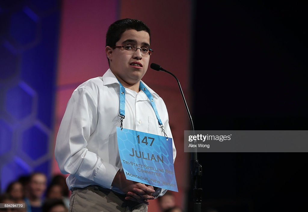 Julian Connaughton of Shohola, Pennsylvania, participates in round three of the 2016 Scripps National Spelling Bee May 25, 2016 in National Harbor, Maryland. Students from across the country gathered to compete for top honor of the annual spelling championship.
