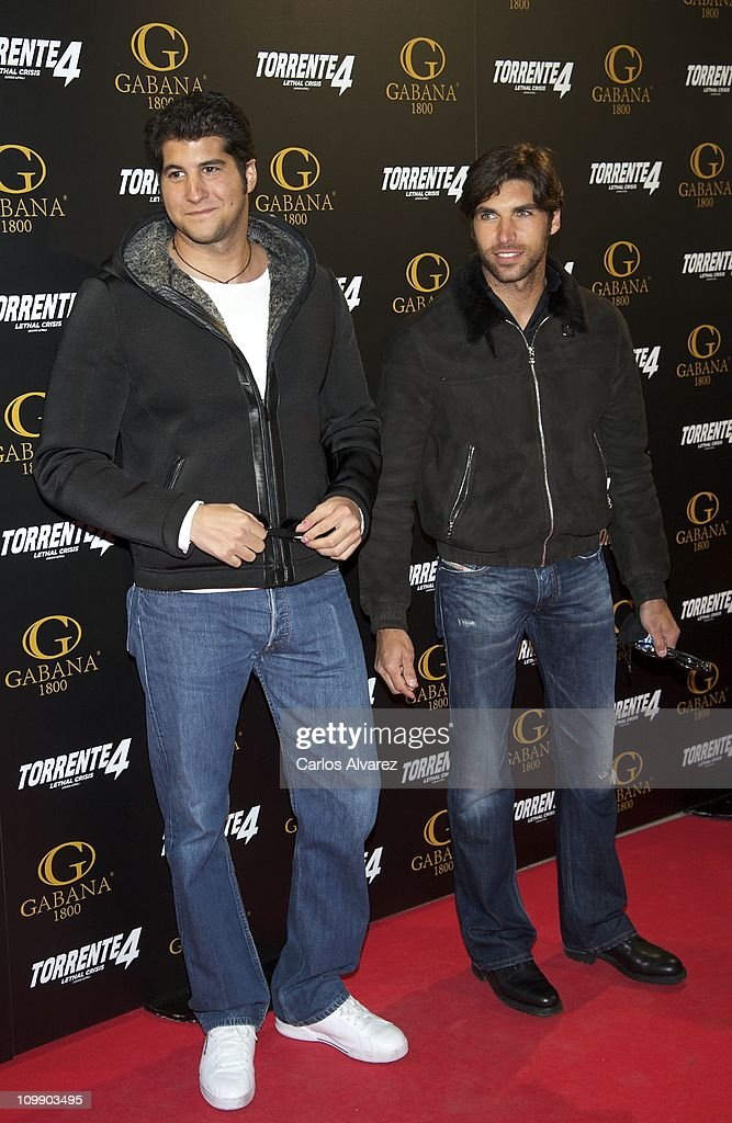 Julian Contreras (L) and Spanish bullfighter Cayetano Rivera attend 'Torrente 4' premiere at the Capitol cinema on March 9, 2011 in Madrid, Spain.