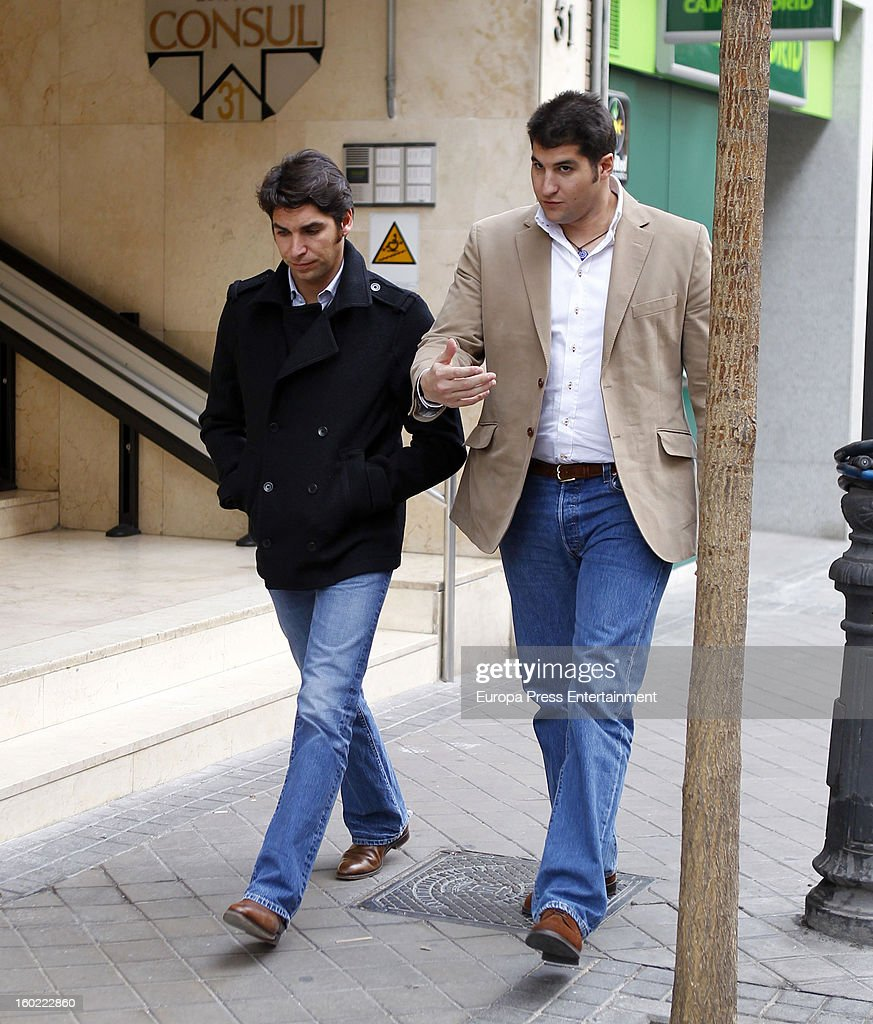 Julian Contreras jr celebrates his 26th birthday with his brother Cayetano Rivera on January 14 2013 in Madrid Spain