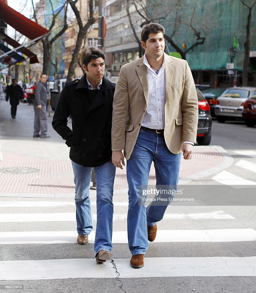 Julian Contreras jr (R) celebrates his 26th birthday with his brother Cayetano Rivera on January 14, 2013 in Madrid, Spain.