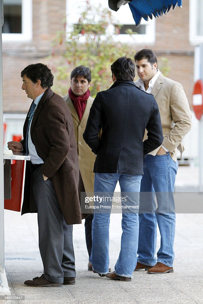 Julian Contreras jr (R) celebrates his 26th birthday with his brothers Francisco Rivera (2L) and Cayetano Rivera (2R) on January 14, 2013 in Madrid, Spain.