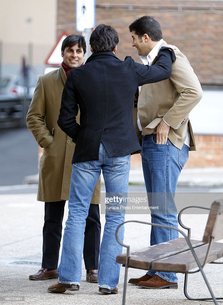 Julian Contreras jr (R) celebrates his 26th birthday with his brothers Francisco Rivera (L) and Cayetano Rivera (C) on January 14, 2013 in Madrid, Spain.