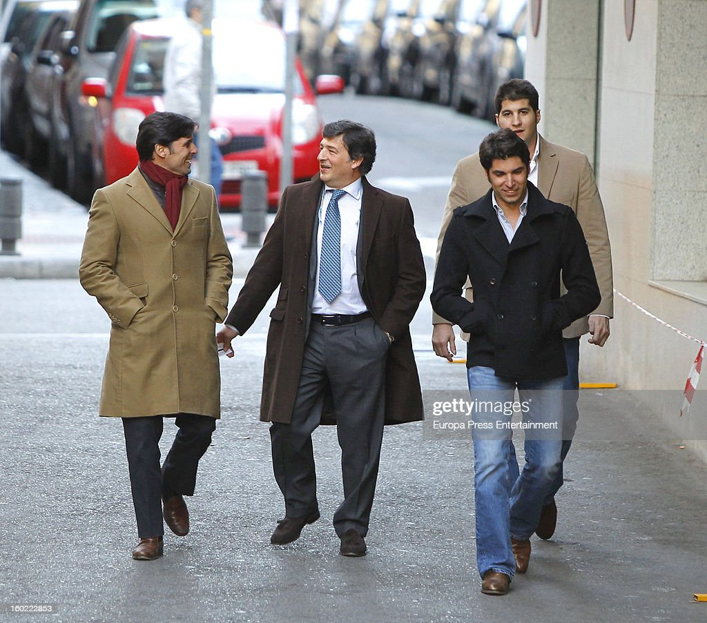 Julian Contreras jr (R) celebrates his 26th birthday with his brothers Francisco Rivera (L) and Cayetano Rivera (2R) on January 14, 2013 in Madrid, Spain.
