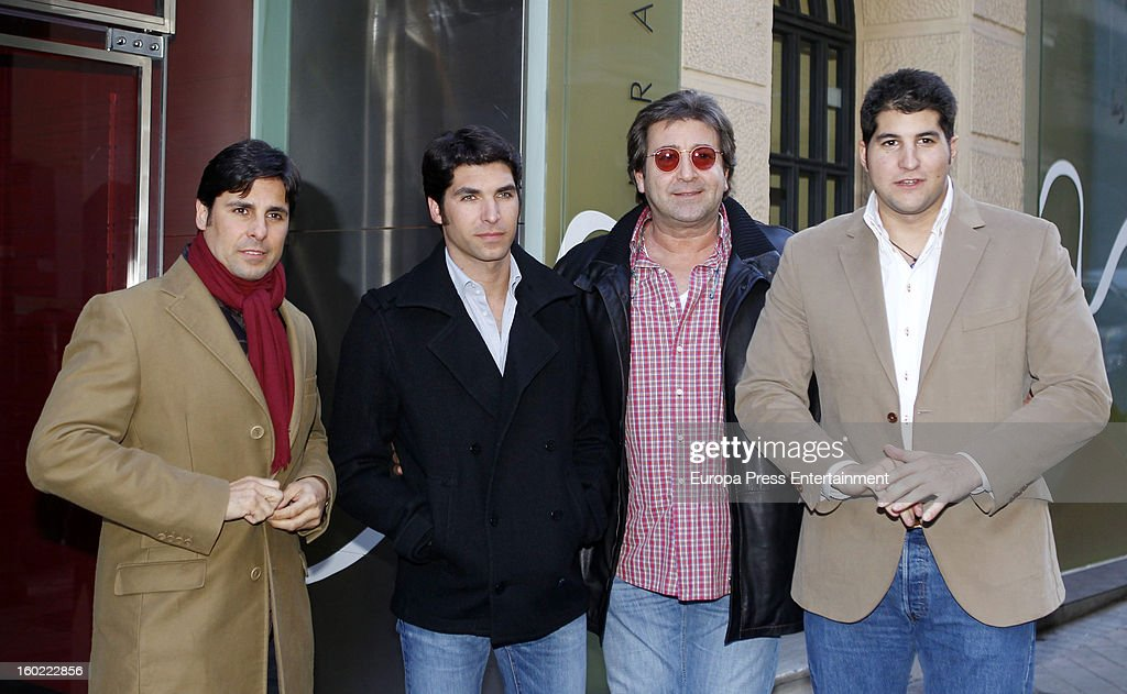 Julian Contreras jr (R) celebrates his 26th birthday with his brothers Francisco Rivera (L) and Cayetano Rivera (2L) and his father Julian Contreras (2R) on January 14, 2013 in Madrid, Spain.