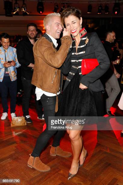 Julian David and AnnaMaria Zimmermann attend the Echo award after show party on April 6 2017 in Berlin Germany