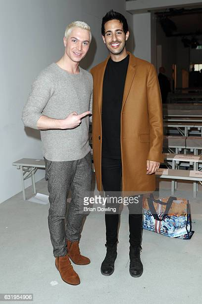 Julian David and Sami Slimani attend the Sportalm show during the MercedesBenz Fashion Week Berlin A/W 2017 at Kaufhaus Jandorf on January 18 2017 in...