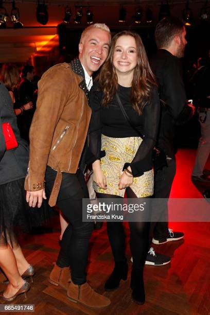 Julian David and SentaSofia Delliponti attend the Echo award after show party on April 6 2017 in Berlin Germany