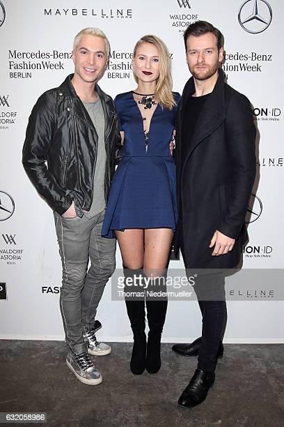 Julian David Carolin Niemczyk and Daniel Grunenberg attend the Ewa Herzog show during the MercedesBenz Fashion Week Berlin A/W 2017 at Kaufhaus...