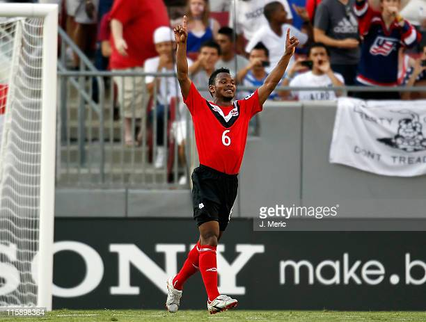 Julian De Guzman of Team Canada celebrates his team's goal against Team Guadeloupe during the CONCACAF Gold Cup Match at Raymond James Stadium on...