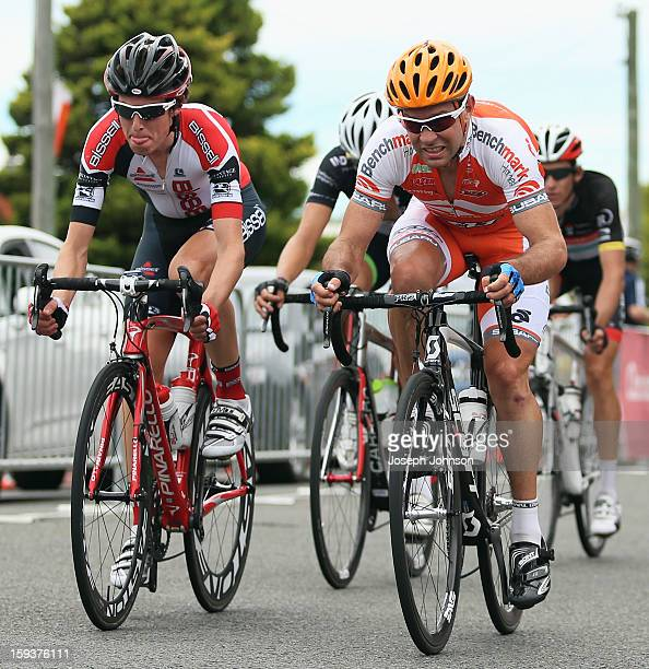 Julian Dean riding for Benchmark Homes competes in the main peloton during the Elite Men's Road Race during the New Zealand Road Cycling...