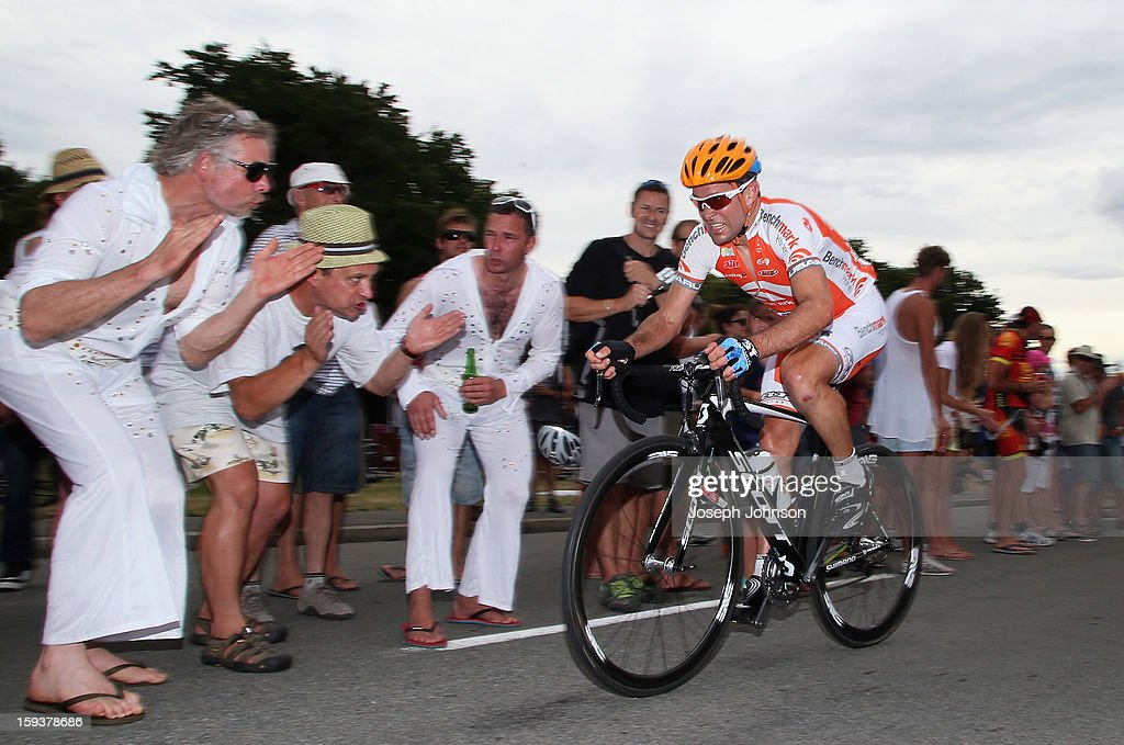 <a gi-track='captionPersonalityLinkClicked' href=/galleries/search?phrase=Julian+Dean&family=editorial&specificpeople=747782 ng-click='$event.stopPropagation()'>Julian Dean</a> riding for Benchmark Homes competes in the main peloton during the Elite Men's Road Race during the New Zealand Road Cycling Championships at Pioneer Stadium on January 13, 2013 in Christchurch, New Zealand. This is Dean's final race after announcing his retirement from the sport.
