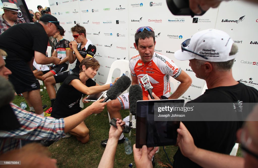 Julian Dean riding for Benchmark Homes talks to media following his third placed finish in the Elite Men's Road Race and his retirement from cycling during the New Zealand Road Cycling Championships at Pioneer Stadium on January 13, 2013 in Christchurch, New Zealand.