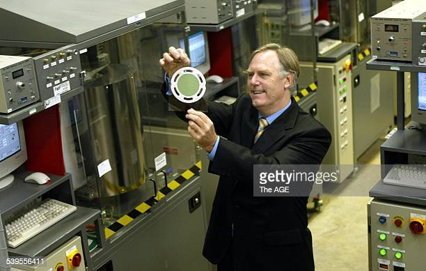 Julian Dinsdale holds a ceramic Fuel Cell at the Noble Park Centre Floating of new company Ceramic Fuel cells on 19th May 2004 THE AGE BUSINESS...