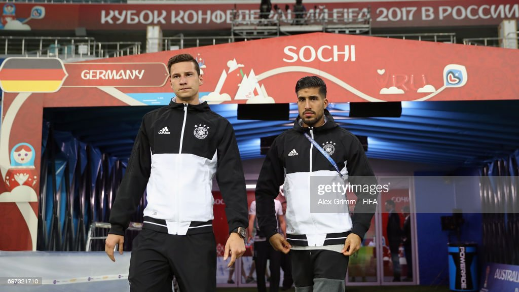 Julian Draxler (L) and Emre Can walk out of the tunnel for a Germany training session during the FIFA Confederations Cup Russia 2017 at Fisht stadium on June 18, 2017 in Sochi, Russia.