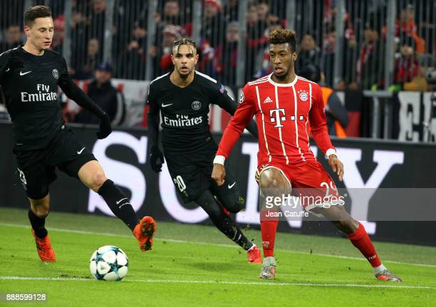 Julian Draxler and Layvin Kursawa of PSG Kingsley Coman of Bayern Munich during the UEFA Champions League group B match between Bayern Muenchen and...