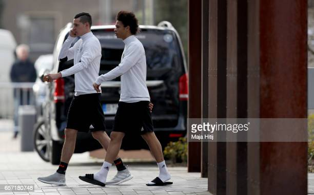 Julian Draxler and Leroy Sane are seen prior to a Germany training session on March 24 2017 in Kamen Germany