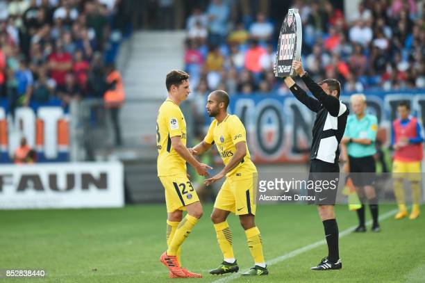 Julian Draxler and Lucas of PSG during the Ligue 1 match between Montpellier Herault SC and Paris Saint Germain at Stade de la Mosson on September 23...