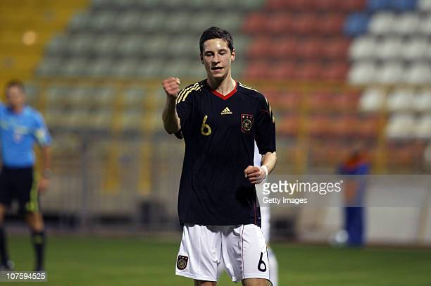 Julian Draxler celebrates after scoring his team's goal during the U18 international friendly match between Israel and Germany on December 14 2010 in...