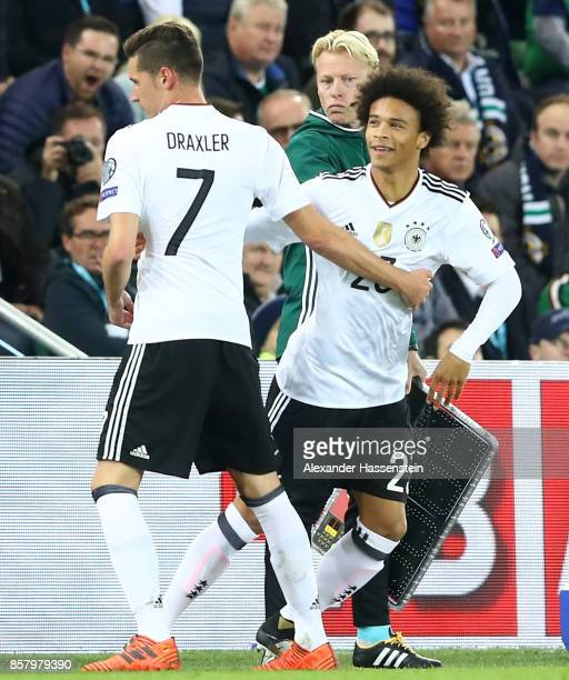 Julian Draxler gets substituted by Leroy Sane of Germany during the FIFA 2018 World Cup Qualifier between Northern Ireland and Germany at Windsor...
