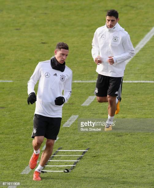 Julian Draxler of Germany and Lars Stindl of Germany pratice during a training session of the German National team at FriedrichLudwigJahnSportpark on...